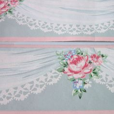 3 Pkgs Vintage Wallpaper Border Lace Bouquet Trimz Pink Roses Lace Swags | eBay