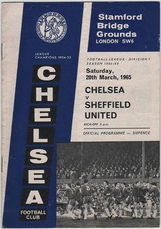 Vintage Football (soccer) Programme - Chelsea v Sheffield United, 1964/65 season