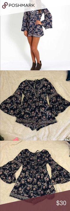 Angie romper With a lightweight construction and patterned design, the Angie Clothing Bell Sleeve Romper for Women is just what your summer wardrobe needs Angie Other