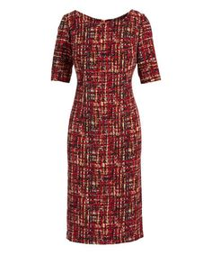 Cherry Variegated Sheath Dress - Plus Too #zulily #zulilyfinds