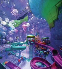 Happy Magic Watercube at the Beijing National Aquatics Center; Neon Aesthetic, Aesthetic Room Decor, Parc A Theme, Happy Magic, Fantasy Places, Indoor Playground, Water Slides, Fantasy Landscape, Retro Futurism