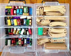 Keeping the kids toys tidy and organised starts with good storage solutions. Great toy storage Ideas for train tracks Creative Toy Storage, Diy Toy Storage, Storage Ideas, Kids Storage, Puzzle Storage, Toy Storage Solutions, Storage Systems, Food Storage, Legos