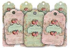 Instant download - Floral Carte Postale Tags - Digital Collage Sheet Set 490 via Etsy