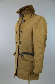 ba05c3ac3d9 1930s Barnstormer USMC Mackinaw Jacket Leather Chin Strap Military Pre WW2  Stenciled Jacket