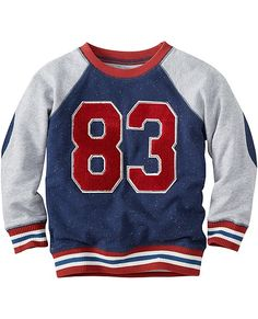 With its forever-favorite softness and kid-caring construction, this sturdy cotton sweatshirt is the ultimate in cozy cool. Bonus points for the appliqués and elbow patches.   <br>• 100% combed cotton French terry  <br>• Contrast raglan sleeves  <br>• Quilted elbow patches   <br>• Appliqué and embroidered art <br>• Striped ribbed cuffs and hem <br>• Relaxed cut <br>• Prewashed <br>• Imported