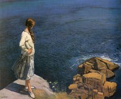 Laura Knight - At the Edge of the Cliff This is the painting referenced in 'Coming Home' by Rosamunde Pilcher