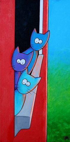 Fenêtre Sillies three cats