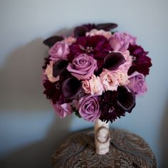 Purple bridal bouquet - really pretty, maybe a bit less pink and a bit more white