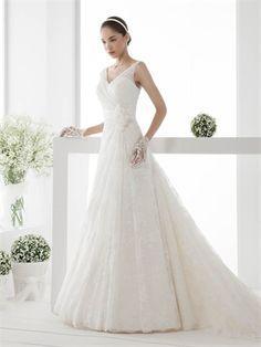 A-line Slim Straps Flower Chapel Train Lace Tulle Wedding Dress WD0729