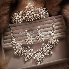 [ 20% OFF ] Ivory Pearl Bridal Jewelry Sets Tiara+Necklace+Earriings Crystal Wedding Jewelry Sets For Women Accessories