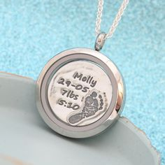 Personalised floating locket with your babies footprint.