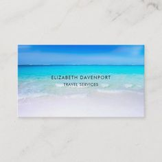 Shop Tropical Beach with a Turquoise Sea Business Card created by Mirribug. Personalize it with photos & text or purchase as is! Premium Business Cards, Salon Business Cards, Artist Business Cards, Minimalist Business Cards, Unique Business Cards, Business Card Size, Professional Business Cards, Business Card Design, Travel Themes