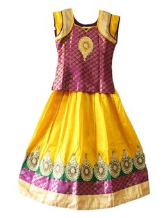 Kids Girls Traditional pattu pavadai / lehengha  for 7 years - Free shipping all over India -   http://www.princenprincess.in/index.php/home/product/276/Maroon%20and%20yellow%20designer%20pavadai