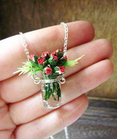 Romantic Rose Bouquet Necklace Handmade Miniature by DoodleBirdie.