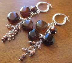 Mocha Brown Chalcedony Earrings Freshwater Pearls by LeanneDesigns, $48.50