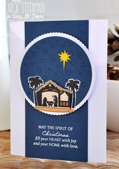 Stylish Christmas card using Papertrey Ink Petite Places: Nativity set and a lovely sentiment from W Plus9 Pretty Patches: Tree stamp. By Inkyfingered Carol