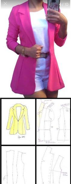 Hoje venho com uma dica de blazer para iniciantes, esse modelo cai muito bem, além de ser muito fácil de se traçar. Coat Pattern Sewing, Blazer Pattern, Coat Patterns, Jacket Pattern, Dress Sewing Patterns, Clothing Patterns, Fashion Sewing, Diy Fashion, Fashion Outfits
