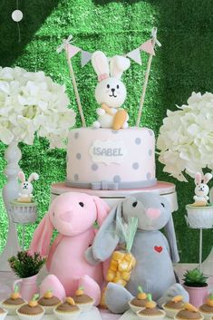 Loving the birthday cake at this Bunny Rabbit Birthday Party!! See more party ideas and share yours at CatchMyParty.com #bunny #cake #easter