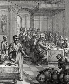 Phillip Medhurst presents John's Gospel: Bowyer Bible print 5293 Christ turns water into wine John 2:6-10 after Titian on Flickr. A print from the Bowyer Bible, a grangerised copy of Macklin's Bible in Bolton Museum and Archives, England.