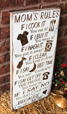 Diy gifts for mom - Mom's Rules Rustic Wood Sign Woodworking For Kids, Woodworking Projects, Diy Projects, Woodworking Chisels, Woodworking Shop, Diy Gifts For Mom, Perfect Gift For Mom, Present For Mom, Diy Gifts For Kids