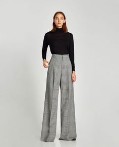 Image 1 of checked wide-leg trousers from zara Mode Outfits, Outfits For Teens, Chic Outfits, Fall Outfits, Fashion Outfits, Womens Fashion, Business Outfit Frau, Business Attire, Baggy Pants