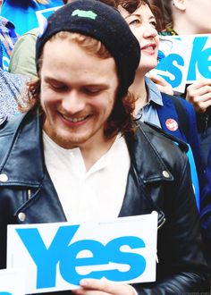 September 2014 - Sam Heughan votes YES for Scotland's independence