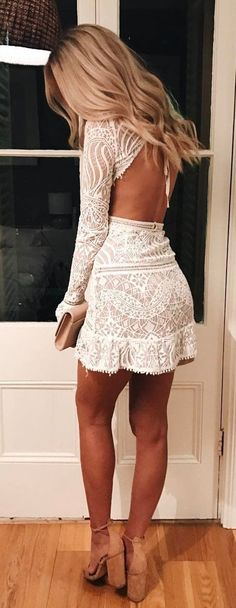 #summer #outfits White Lace Open Back + Camel Pumps 🕊✨