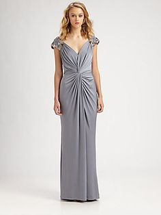 Tadashi Shoji Embroidered Jersey Gown - mother of the bride