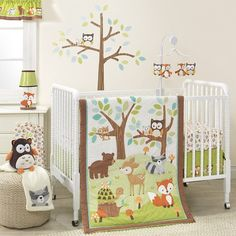 Such a cute set for a forest animal woodland nature theme baby nursery.