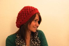 crochet puff stitch hat with Dutch pattern