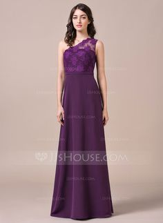 A-Line/Princess One-Shoulder Floor-Length Chiffon Lace Bridesmaid Dress (007057695) - JJsHouse