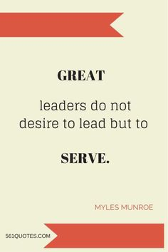To be the best you must serve the rest.