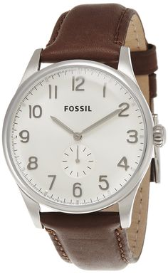 Fossil Men's FS4851 Classically neutral, decidedly stylish-The Agent is an undercover wrist essential that will look as good years from now as it does today. Favored for its slim profile and clean design, this timepiece features a rich brown leather strap and shiny silver-tone dial.  For this interchangeable design, check out all compatible 22mm watch straps for this design, or see all of our interchangeable watches for more styles and colors.