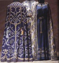Clothing of the Byzantine (Eastern Roman) Empire, c. 1300-1400.