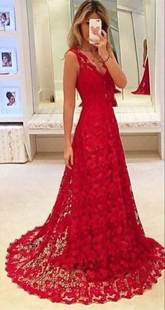 Elegant Red Lace Deep V Neck A Line Formal Prom Gown With Small Sweep Train,lace prom dreses,lace evening dresses,red party dresses,red graduation dresses, formal dresses