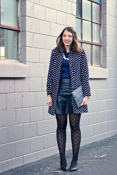 NEW YEAR'S EVE 2015 | Style On Target | polka dot tights and coat, Madewell city clutch