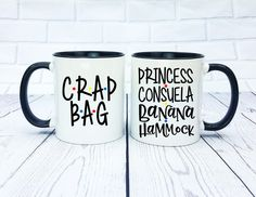 Princess Consuela Banana Hammock and Crap Bag Mug Set - Mr and Mr, His and Hers, Ross and Rachel, Monica and Chandler Friends Moments, Friends Series, Friends Tv Show, Friends Font, Monica And Chandler, Bachelorette Party Planning, Wedding Planning, Ross And Rachel, Friend Mugs