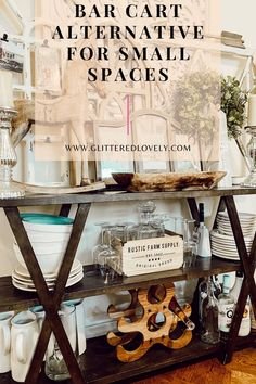 If you're looking for some bar cart ideas and cheap bar cart ideas and have a small space, I am sharing all the details on how to get the most out of your bar cart. #barcartalternatives #barcart
