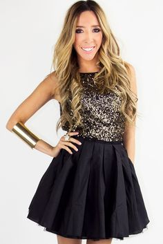 GOLD SEQUIN FULL A LINED SKIT DRESS - Black/Gold