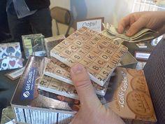 Scrabble tile coasters (using tile and Scrabble scrapbook paper) - Flickr