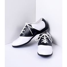 Black & White Classic Lace Up Saddle Shoes ($48) ❤ liked on Polyvore featuring shoes, laced up shoes, synthetic shoes, saddle shoes, black and white saddle shoes and black and white shoes