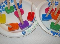 Paint Cubes- Mix liquid paint & water in ice trays.  Stand popsicle sticks in slits cut in saran.  Paint once frozen.  They get more vibrant as they melt.  Re-freeze leftovers.