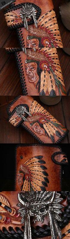 Handmade leather biker trucker wallet leather chain men indian Black Carved Tooled wallet