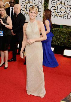 Globos de Oro 2014: Robin Wright, muy elegante con un vestido dorado de Reem Acra.