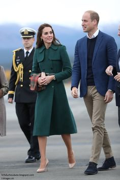 hrhduchesskate:  Canada Tour, Day 4, White Horse, British Columbia, September 27, 2016-Duke and Duchess of Cambridge arrive in White Horse; the Duchess paired her Dolce & Gabanna Crépe Embellished Dress from her visit to Kelowna with her Hobbs London 'Persephone' Trench Coat, first worn in 2014, accessorized with a Maple Leaf Tartan scarf, L.K. Bennett 'Fern' pumps, L.K. Bennett 'Nina' clutch, Cartier Ballon Bleu watch and Monica Vinader Siren Wire Earrings