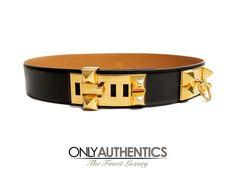 Hermès Black Leather CDC Belt - Size 80