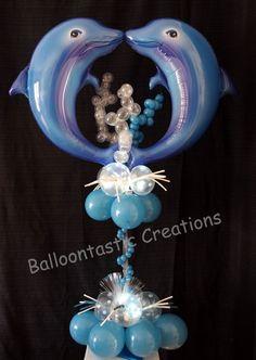 Folienballon Delphin Paar Heliumballon Lüftballon Kindergeburtstag Blau Rosa