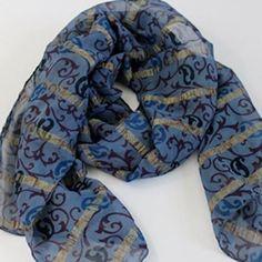 blue chiffon scarf with zari lines