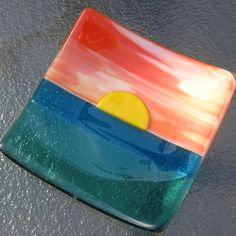 Fused Glass Sunset Plate, Sunset Ocean Beach Dish, Turquoise Blue Sea Glass…