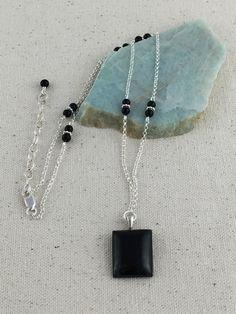 Black+Jade+Pendant+Necklace+on+Strand+of+Fine+Silver+by+Rock2Gems